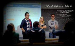 Daniel, Zuri y Carlos durante las CAChemE Lightning Talks